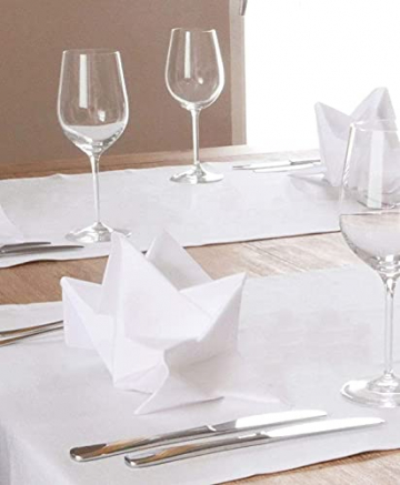 ZOLLNER 6er-Set Damast Stoffservietten, Baumwolle, 40x40 cm, Atlaskante, weiß - 5