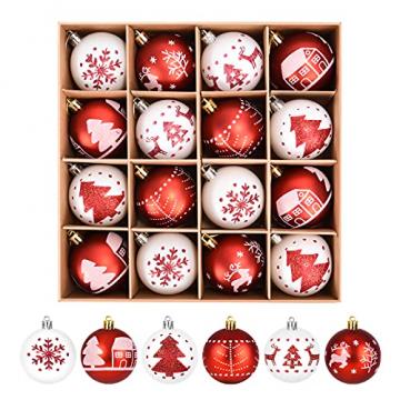 ZOOI Weihnachtskugeln Kunststoff Set, 16 Stücke 6CM Deko Weihnachten mit Aufhänger Christbaumkugeln Plastik Bruchsicher, Baumschmuck Weihnachten Weiße Weihnachtskugeln, Weihnachtskugeln Rot - 1