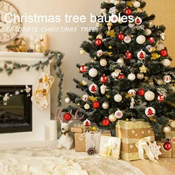 ZOOI Weihnachtskugeln Kunststoff Set, 16 Stücke 6CM Deko Weihnachten mit Aufhänger Christbaumkugeln Plastik Bruchsicher, Baumschmuck Weihnachten Weiße Weihnachtskugeln, Weihnachtskugeln Rot - 5