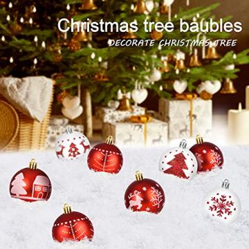 ZOOI Weihnachtskugeln Kunststoff Set, 16 Stücke 6CM Deko Weihnachten mit Aufhänger Christbaumkugeln Plastik Bruchsicher, Baumschmuck Weihnachten Weiße Weihnachtskugeln, Weihnachtskugeln Rot - 6