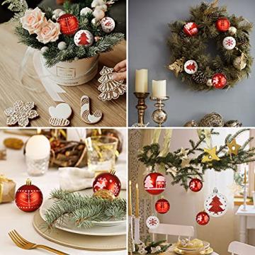 ZOOI Weihnachtskugeln Kunststoff Set, 16 Stücke 6CM Deko Weihnachten mit Aufhänger Christbaumkugeln Plastik Bruchsicher, Baumschmuck Weihnachten Weiße Weihnachtskugeln, Weihnachtskugeln Rot - 7