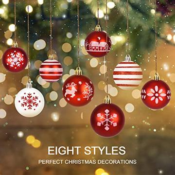 ZOOI Weihnachtskugeln Kunststoff Set, Deko Weihnachten, 16 Stücke 6CM Christbaumkugeln mit Aufhänger Plastik Bruchsicher, Baumschmuck Weihnachten Weihnachtskugeln Rot, Weiße Weihnachtskugeln - 2