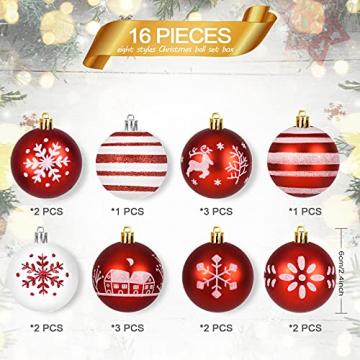 ZOOI Weihnachtskugeln Kunststoff Set, Deko Weihnachten, 16 Stücke 6CM Christbaumkugeln mit Aufhänger Plastik Bruchsicher, Baumschmuck Weihnachten Weihnachtskugeln Rot, Weiße Weihnachtskugeln - 3