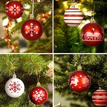 ZOOI Weihnachtskugeln Kunststoff Set, Deko Weihnachten, 16 Stücke 6CM Christbaumkugeln mit Aufhänger Plastik Bruchsicher, Baumschmuck Weihnachten Weihnachtskugeln Rot, Weiße Weihnachtskugeln - 4