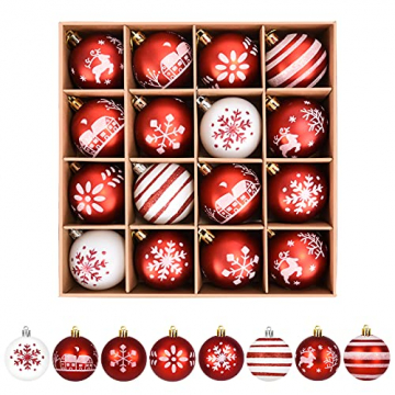 ZOOI Weihnachtskugeln Kunststoff Set, Deko Weihnachten, 16 Stücke 6CM Christbaumkugeln mit Aufhänger Plastik Bruchsicher, Baumschmuck Weihnachten Weihnachtskugeln Rot, Weiße Weihnachtskugeln - 1