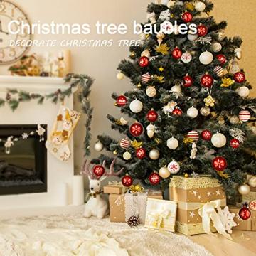 ZOOI Weihnachtskugeln Kunststoff Set, Deko Weihnachten, 16 Stücke 6CM Christbaumkugeln mit Aufhänger Plastik Bruchsicher, Baumschmuck Weihnachten Weihnachtskugeln Rot, Weiße Weihnachtskugeln - 5