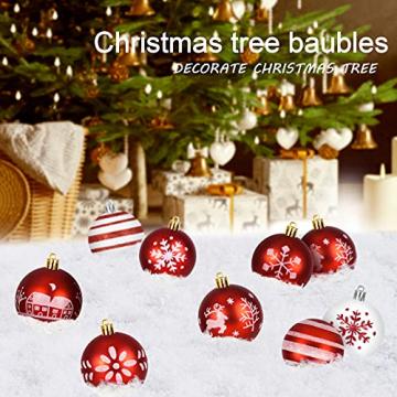 ZOOI Weihnachtskugeln Kunststoff Set, Deko Weihnachten, 16 Stücke 6CM Christbaumkugeln mit Aufhänger Plastik Bruchsicher, Baumschmuck Weihnachten Weihnachtskugeln Rot, Weiße Weihnachtskugeln - 6