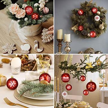 ZOOI Weihnachtskugeln Kunststoff Set, Deko Weihnachten, 16 Stücke 6CM Christbaumkugeln mit Aufhänger Plastik Bruchsicher, Baumschmuck Weihnachten Weihnachtskugeln Rot, Weiße Weihnachtskugeln - 7